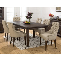 Geneva Hills 7 Piece Expandanble Dining Set Table 6 Upholstered Chairs
