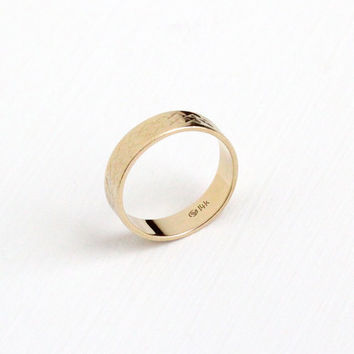 Vintage 14k Yellow Gold Chased Eternity Geometric Design Ring - Size 6 3/4 Retro Wide Cigar Wedding Band Fine Statement Stacking Jewelry