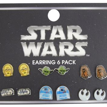 Loungefly Epic Star Wars C3PO, Yoda, Chewbacca - 6 Pair Earrings Pack