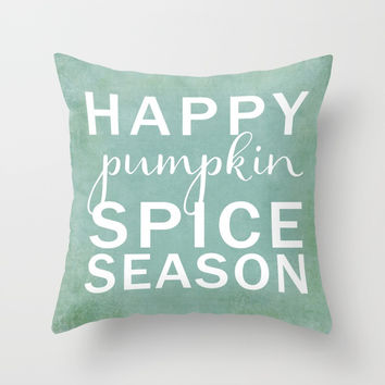 happy pumpkin spice season-blue Throw Pillow by Sylvia Cook Photography