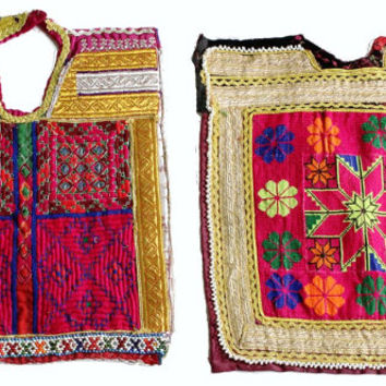 FREE SHIPPING -A set of 2 pieces assorted vintage banjara neck yokes. Handmade Applique Patch Sewing craft, Indian Fabric neck yoke .