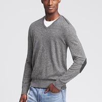Banana Republic Mens Elbow Patch Vee Pullover