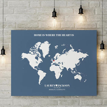 Home Is Where The Heart Is World Map Print, Wedding Gift World Map, Custom Wedding Gift, Newlywed Gift, Personalized Wedding Gift,