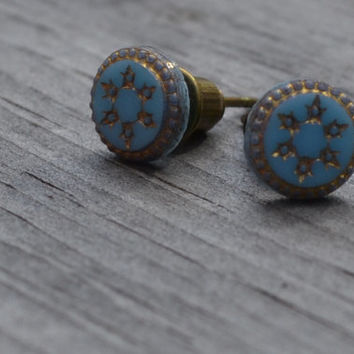 Blue and Bronze Post Earrings, Etched Flower Stud Earrings, Antique Brass and Glass Studs, Bridesmaids Earrings, Dainty and Petite
