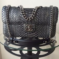 ONETOW Chanel Metallic Python Snakeskin Classic Bag. Limited Edition Karl Lagerfeld