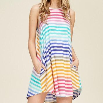 Rainbow Stripe Pocket Dress