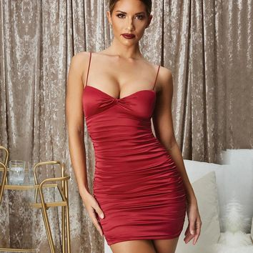 2019 Spaghetti Strap Pleated Sexy Dress Women Strapless Sleeveless Mini Summer Dress Beach Backless Club Party Dress Short