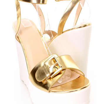 Gold Ankle Strap Faux Leather Open Toe Platform Wedges