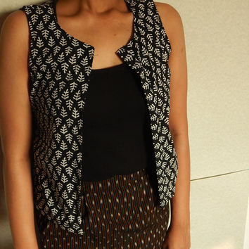 Block Print Cotton Vest, Black Waistcoat, Bohemian Top, Indian Vest, Sleeveless Shirt