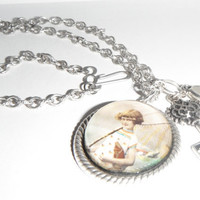 Little Girl Fishing Domed Pendant Necklace Silver Art Print Fish Net Charms Believe Gift fashion under 30