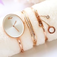 Luxury Crystal Oval Quartz Watch with Rhinestone Bracelet Fashion Jewelry Watch Set