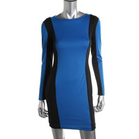 Wyatt Womens Long Sleeve Colorblock Casual Dress