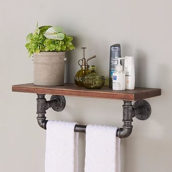 "24"" Jarrett Industrial Pine Wood Floating Wall Shelf in Gray and Walnut-Armen Living"