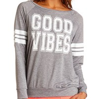 GOOD VIBES GLITTER GRAPHIC SWEATSHIRT