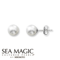 Cultured Pearl Earrings 14K White Gold