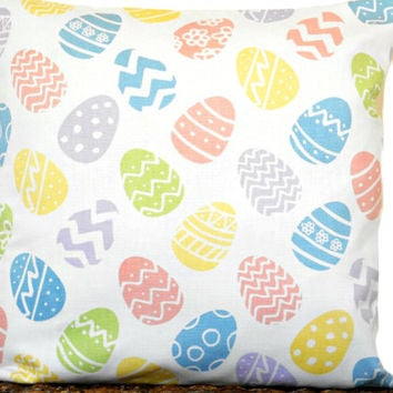 Easter Eggs Pillow Cover Cushion White Blue Salmon Lilac Lime Green Yellow Pastel Polka Dots Chevron Circles Decorative Repurposed 16x16