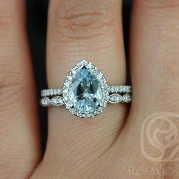 Tabitha 9x7mm & Christie 14kt White Gold Pear Aquamarine and Diamonds Halo Wedding Set (Other metals and stone options available)