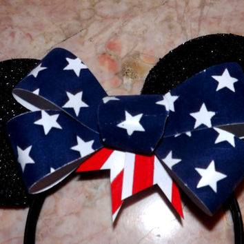 Minnie Mouse Ears Headband Black sparkle with USA American Flag big Bow