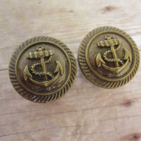 "One of a Kind - VINTAGE Pair of Antique Brass Nautical Anchor Button Plugs - Sailor Gauges - Beach - 9/16"", 5/8"", 3/4"" (14mm, 16mm, 19mm)"