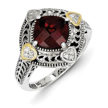 Antique Style Sterling Silver with 14k Yellow Gold Diamond & Garnet Ring