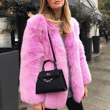 Runaway 2017 Women Winter Pink Fur Coats Jackets Fluffy Shaggy Faux Fox Fur Coat Women Thicken Warm Winter Outerwear Overcoats