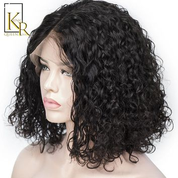 Cool 150% Density Curly Lace Front Human Hair Wigs For Women 13x5 Short Bob Wigs With Natural Black Brazilian Remy King Rosa QueenAT_93_12