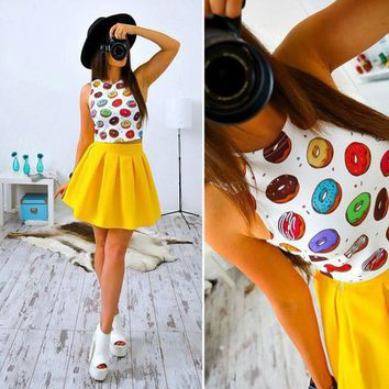 Summer New Style Cute Women Print Two Pieces Clothing 2017 Sexy Fashion Sleeveless tank Floral mini dresses 2 pieces Clothes