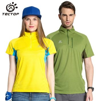 Tectop Men Women Breathable Quick Dry Hiking T-shirt Camping Trekking Outdoor Sport T-shirts 2017 Summer Cycling T Shirt,AM066