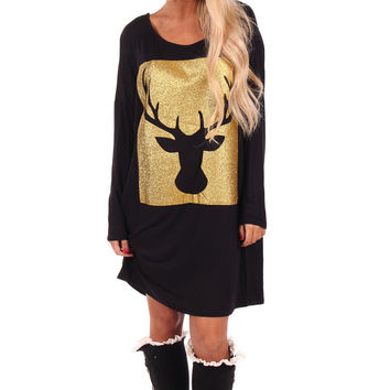 Black Tunic with Gold Deer Print Detail