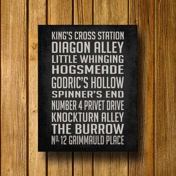 "Harry Potter Inspired Subway Sign 11"" x 14"" Poster"