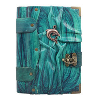 Diving Dolphin On A Blue Leather Journal / Notebook / Diary / Sketchbook / Leatherbound