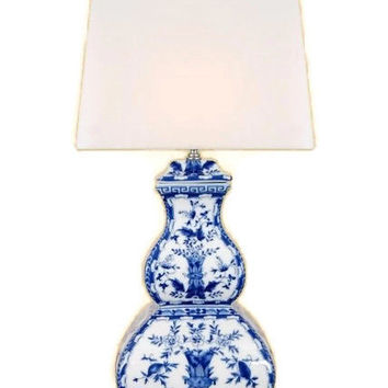 """Beautiful Blue and White Porcelain Gourd Table Lamp Chinoiserie Style Art 25"""""""