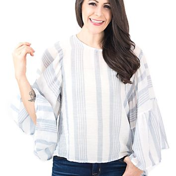 Women's Striped Blouse with Statement Sleeves