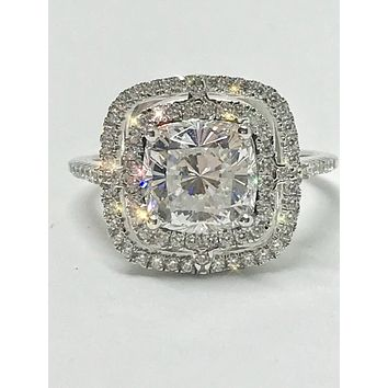 A Flawless 4CT Asscher Cut Double Halo Russian Lab Diamond Engagement Ring