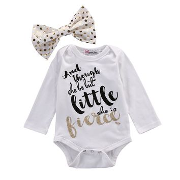 2016 New Cute Baby Clothes Long Sleeve Cotton Letter Print Infant Girl Romper Bodysuit Bow Headwear 2PCS Outfit Bebes Clothing