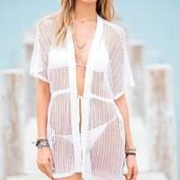 MG Collection Stylish White Crocheted Swimsuit Cover Up Beach Robe / Beachwear