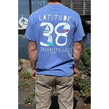 Sausalito Latitude 38 Men's Short Sleeve T Blue