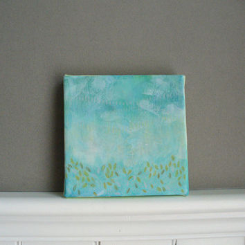 landscape abstract painting mint 5 x 5 canvas mixed media mothers day