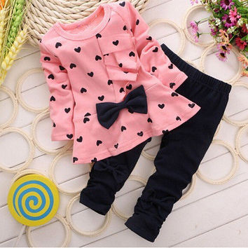 spring/autumn baby  clothing set girls sports suit set children christmas outfits girls tracksuit clothes T shirt+pant
