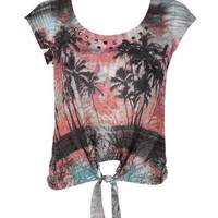 Studded Palm Tree Short-Sleeve
