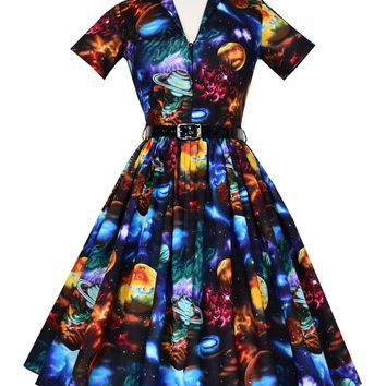 Bernie Dexter Drive-in Dress In Celestial planet outer space Print