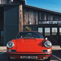 1966 Porsche Signal Red 911 at the Malibu Trancas Country Market