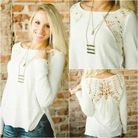 Free People Lace Up Tee (Cream) - Piace Boutique
