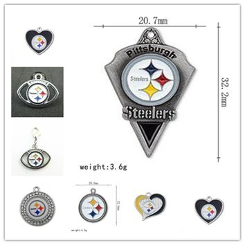 7 Styles Alloy Enamel Pittsburgh Steelers Pendant Dangle Charms For DIY Necklace&Bracelet Sport Jewelry 20pcs/lot