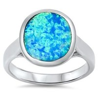 Sterling Silver Solitaire Bezel Round Ring 13MM Blue Lab Opal