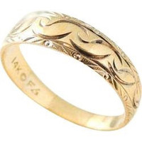Etched Wedding Band 14k Gold Wedding RING