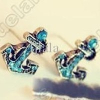 Retro Vintage Fashion Anchor with Blue Diamond Earring - One Pair
