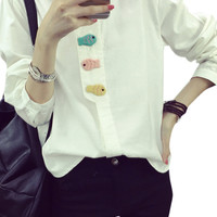 Cartoon Fish Appliques Button Down Shirt