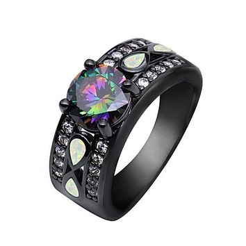 Infinity Mystic Round Rainbow Topaz Fire Opal Ring Black Gold Jewelry