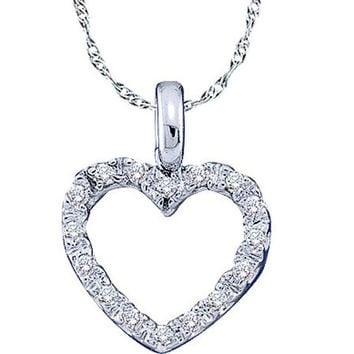 Diamond Heart Pendant in 10k White Gold 0.1 ctw